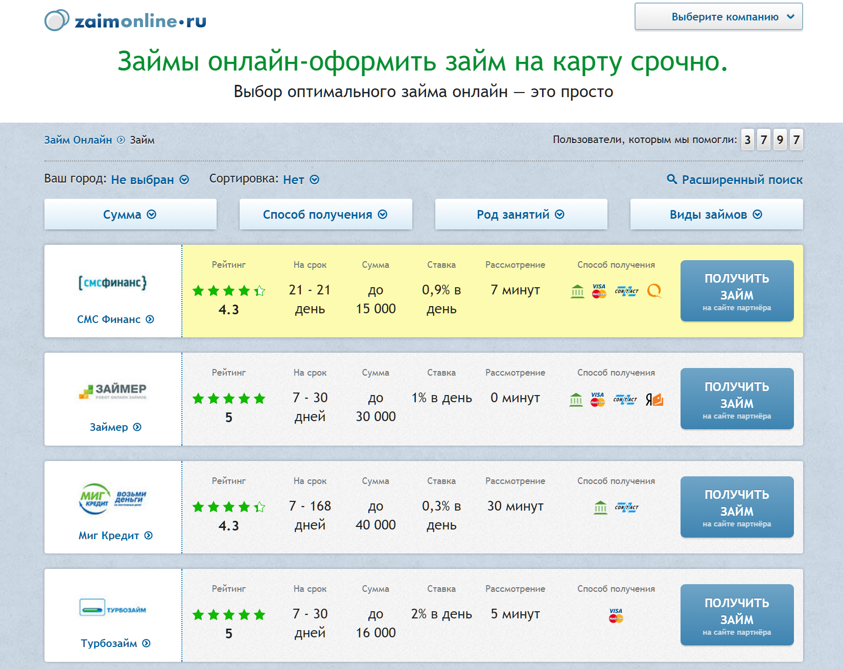 Подбор микрозайма с помощью сервиса Zaimonline-ru