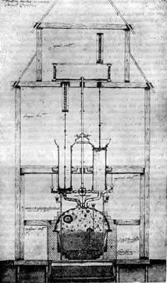 Поперечный разрез первой паровой заводской машины, изобретенной И. И. Ползуновым в 1763 году и построенной в 1764 -- 1765 годах - Центральный исторический госмузей в Ленинграде