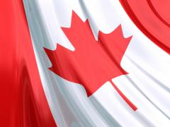 Красный кленовый лист на государственном флаге Канады