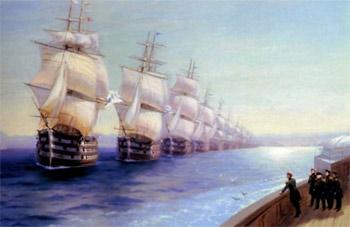 Маневры Черноморского флота в 1850 году. Картина Ивана Айвазовского. 1886 г.