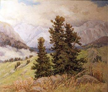 Высокогорный кедры. Работа художника С. И. Кашкарова, Барнаул